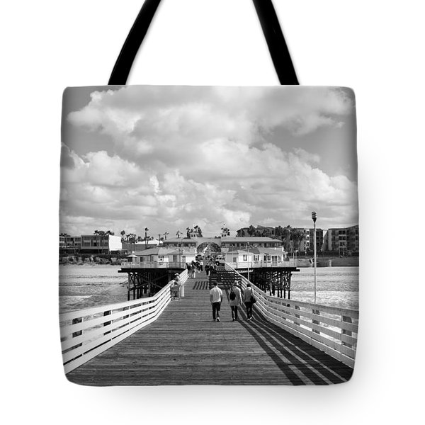 Pacific Beach From Crystal Pier Tote Bag