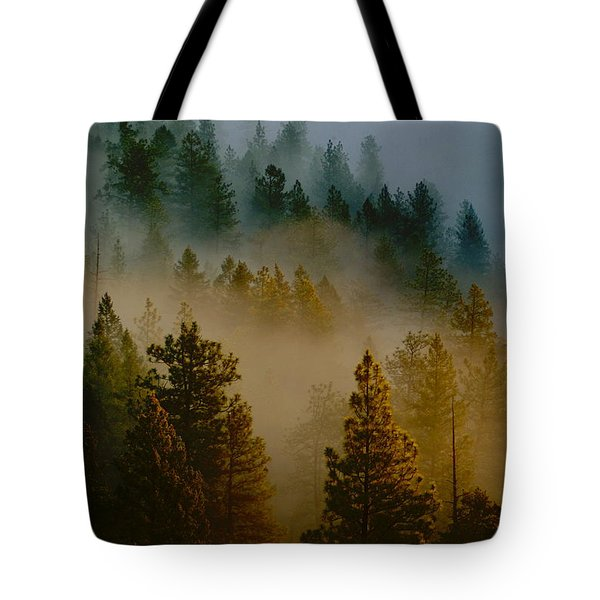 Pacific Northwest Morning Mist Tote Bag