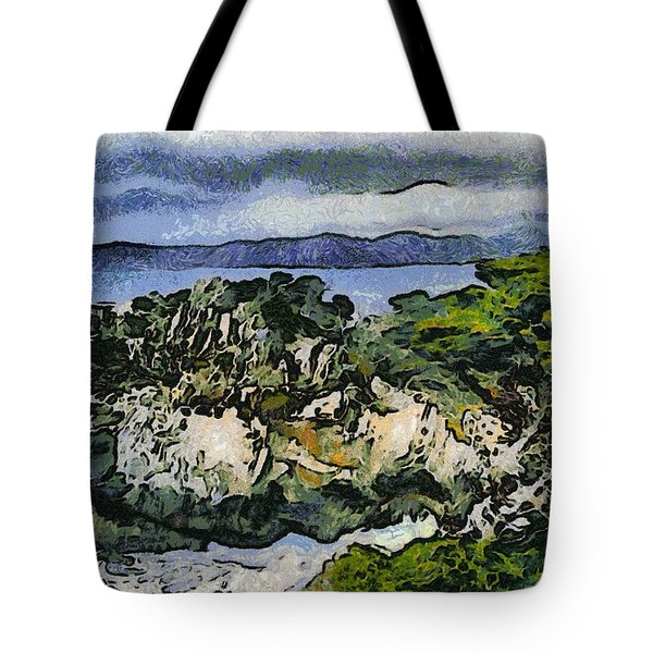 Pacific Ocean Abstract Seascape Tote Bag by Barbara Snyder
