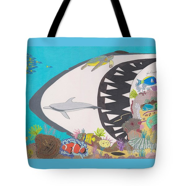 Tote Bag featuring the drawing Pacific Peril by John Wiegand