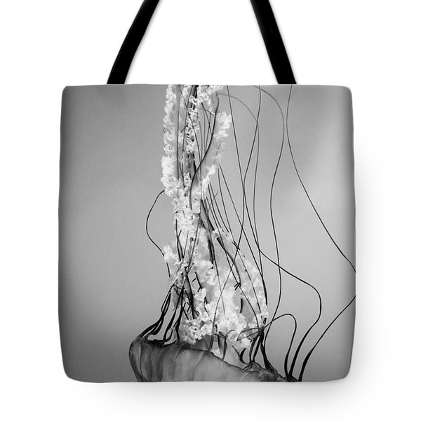 Pacific Sea Nettle - Black And White Tote Bag