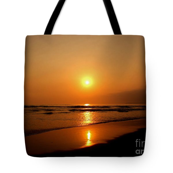 Pacific Sunset Reflection Tote Bag by Debby Pueschel