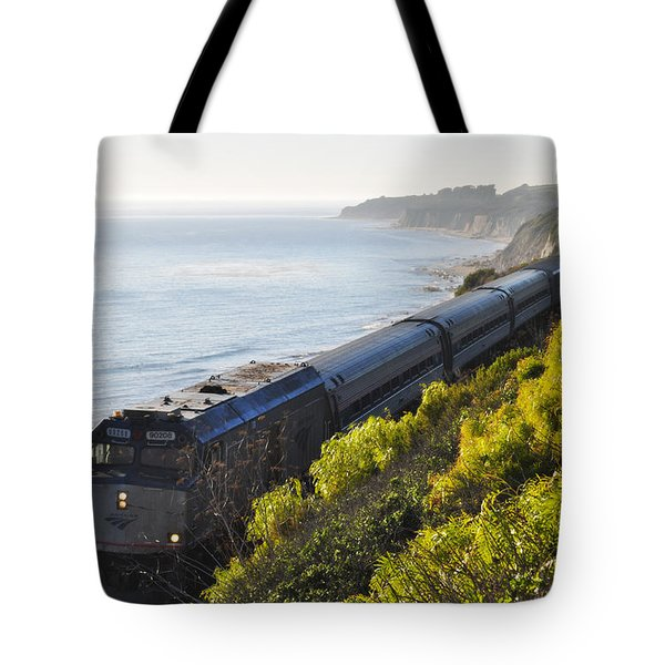 Pacific Surfliner Along The Central Coast Tote Bag
