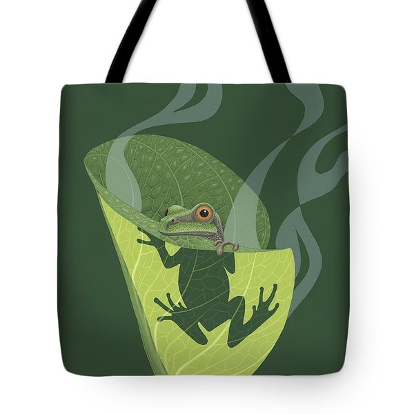 Pacific Tree Frog In Skunk Cabbage Tote Bag by Nathan Marcy