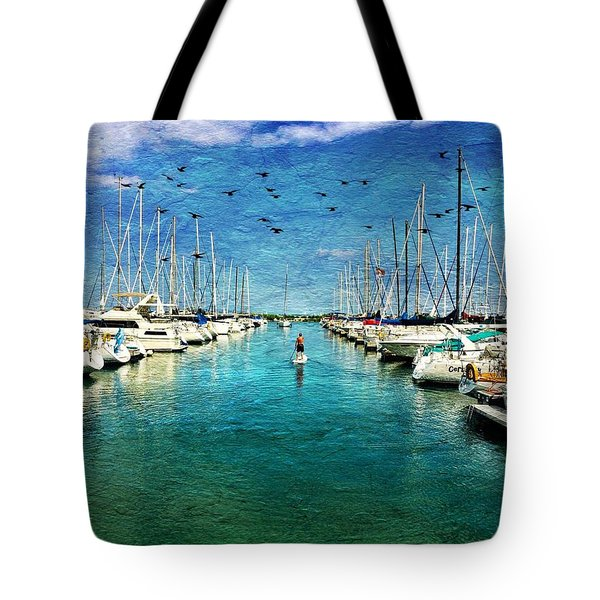 Paddle Boarder  In The Harbor Tote Bag by Eleanor Abramson