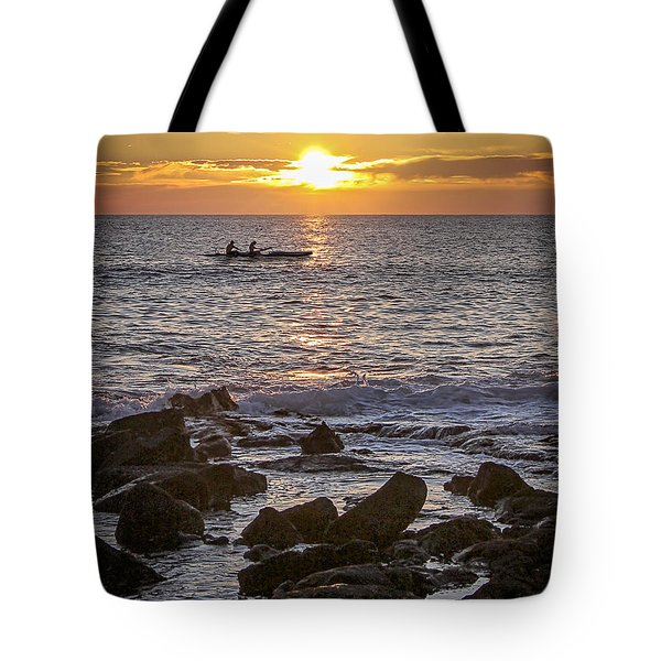 Paddlers At Sunset Portrait Tote Bag by Denise Bird