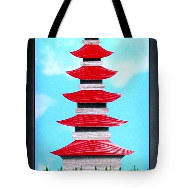 Tote Bag featuring the mixed media Pagoda by Ron Davidson