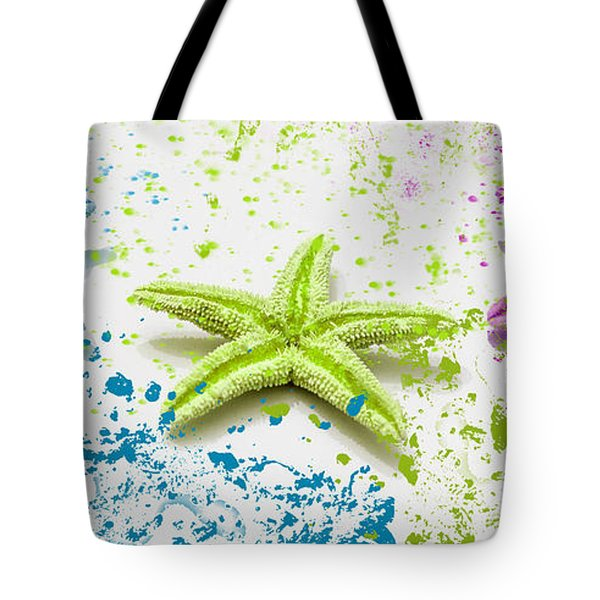 Paint Spattered Star Fish Tote Bag