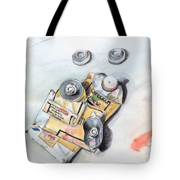 Paint Tubes Tote Bag by Katherine Miller