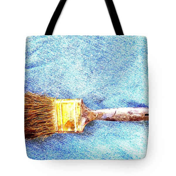 Paintbrush On Denim Tote Bag
