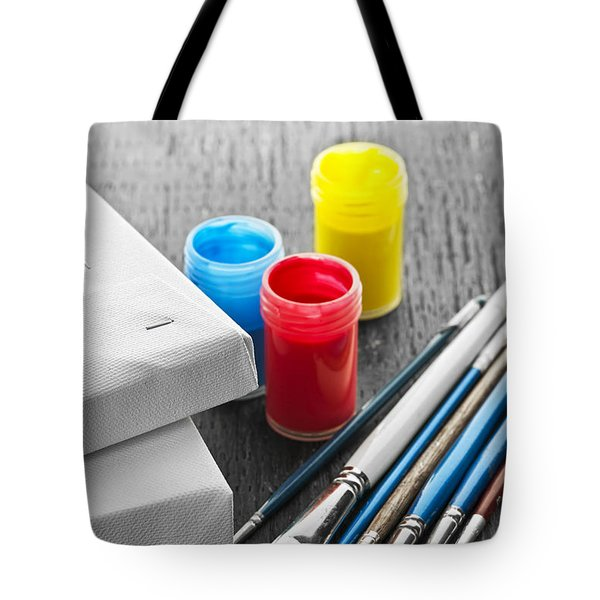 Paintbrushes With Canvas Tote Bag by Elena Elisseeva