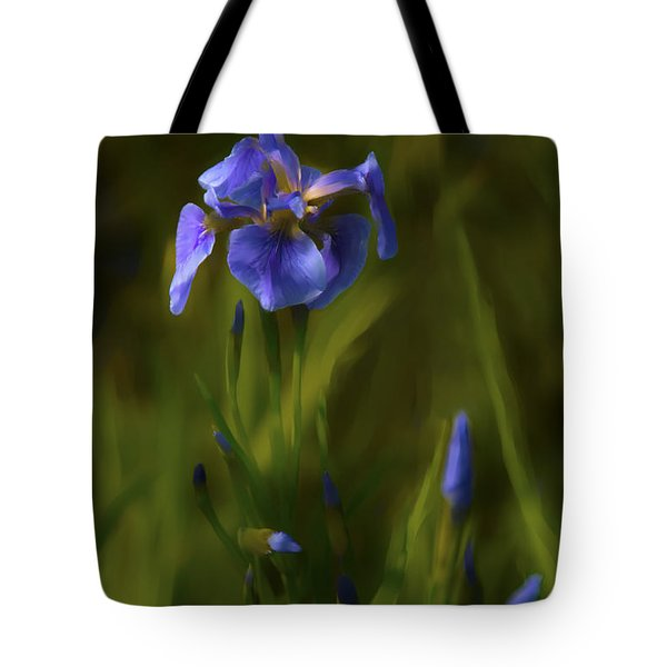 Painted Alaskan Wild Irises Tote Bag
