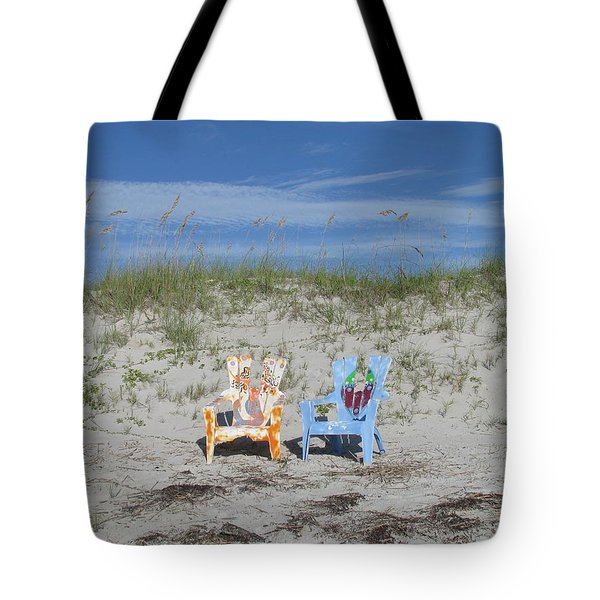 Painted Beach Chairs Tote Bag