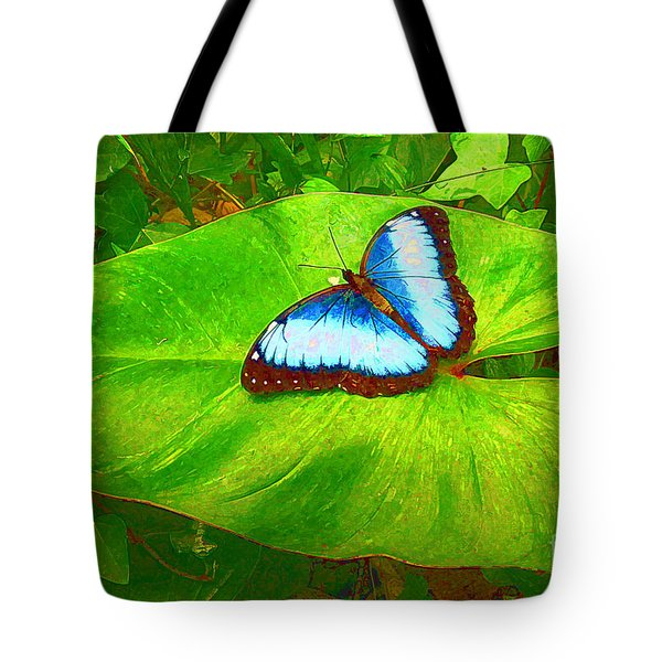 Painted Blue Morpho Tote Bag by Teresa Zieba