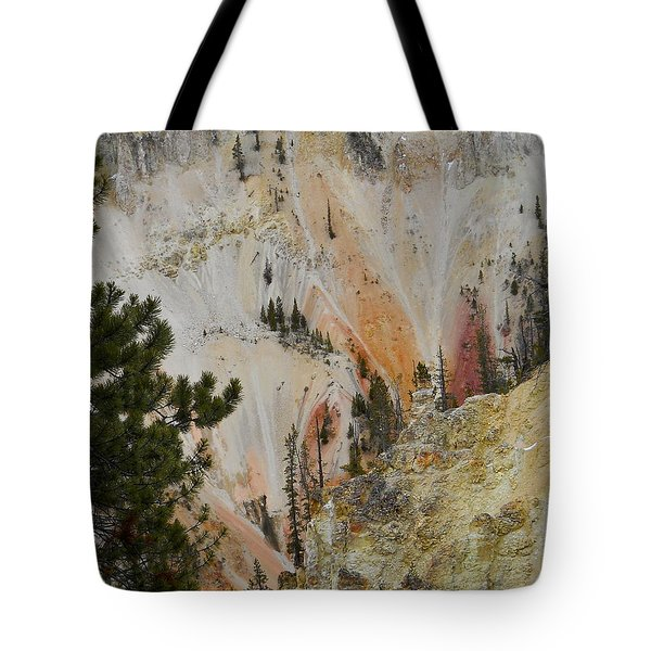 Tote Bag featuring the photograph Painted Canyon At Lower Falls by Michele Myers