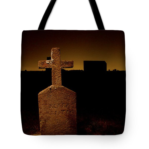 Painted Cross In Graveyard Tote Bag by Jean Noren