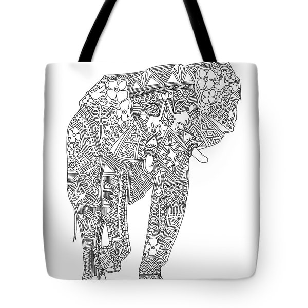 Painted Elephant Black White Tote Bag