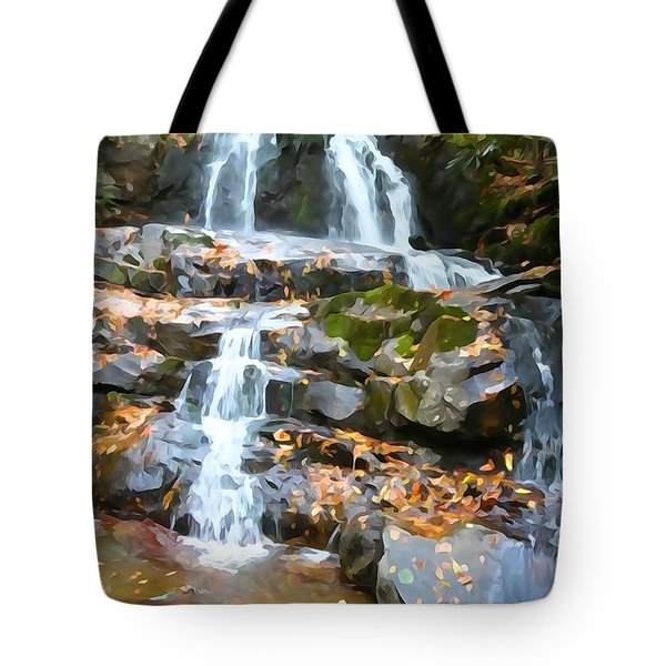 Painted Falls In The Smokies Tote Bag by Dan Sproul