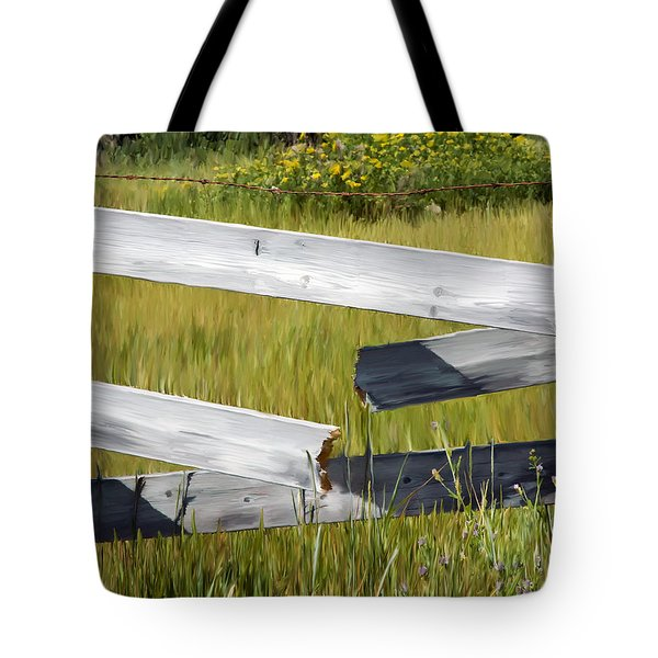 Painted Fence Tote Bag by Michele Wright
