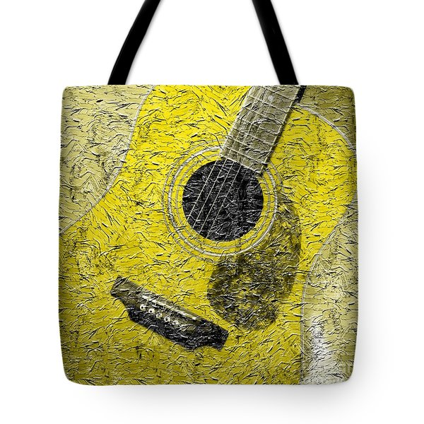Painted Guitar - Music - Yellow Tote Bag by Barbara Griffin