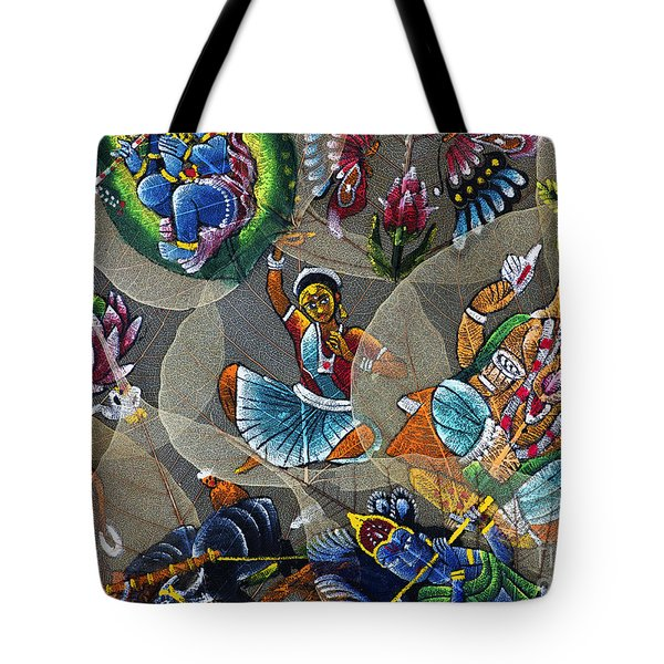 Painted Indian Bodhi Leaves Tote Bag
