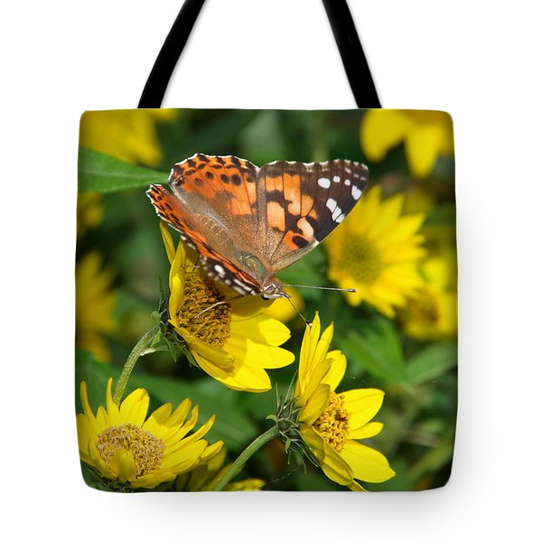 Tote Bag featuring the photograph Painted Lady by James Peterson
