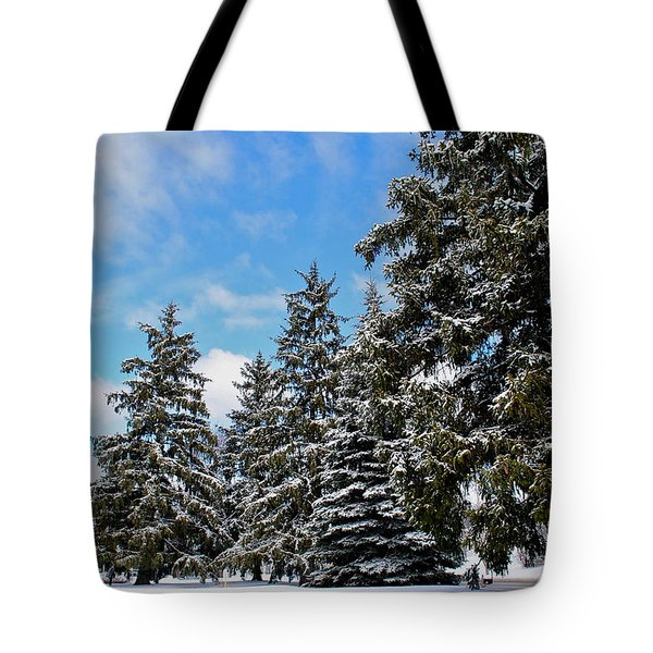 Painted Pines Tote Bag by Frozen in Time Fine Art Photography
