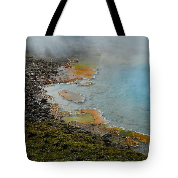 Tote Bag featuring the photograph Painted Pool Of Yellowstone by Michele Myers