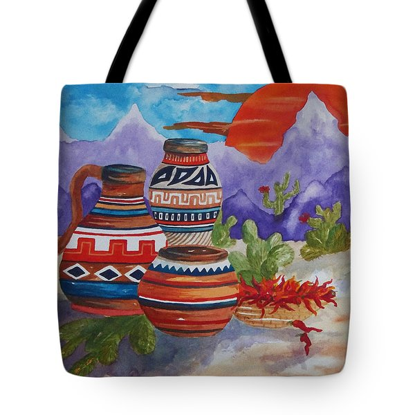 Painted Pots And Chili Peppers Tote Bag