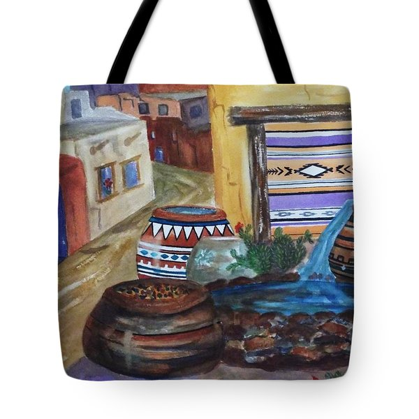 Painted Pots And Chili Peppers II  Tote Bag by Ellen Levinson