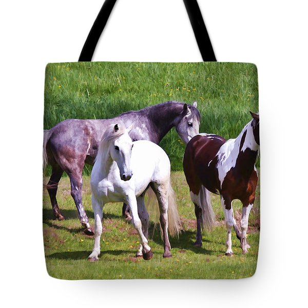 Painted Pretty Horses Tote Bag by Athena Mckinzie