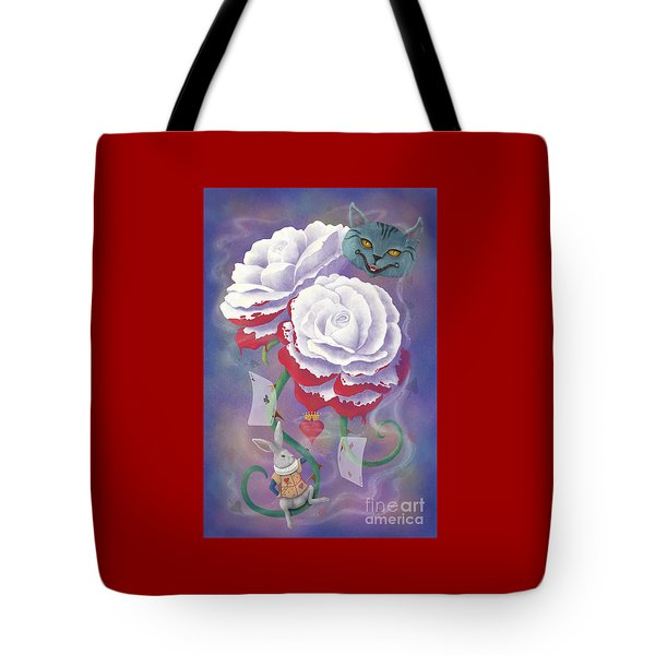 Painted Roses For Wonderland's Heartless Queen Tote Bag by Audra D Lemke