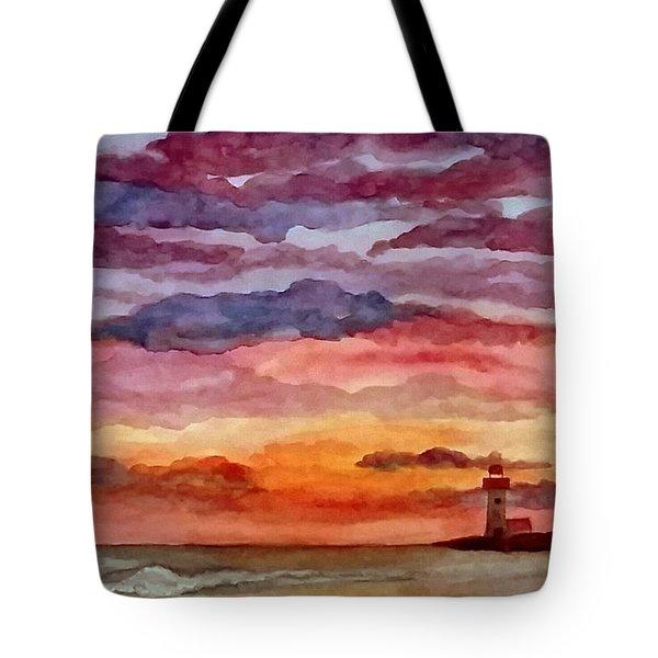 Painted Sky Over Ocean Tote Bag