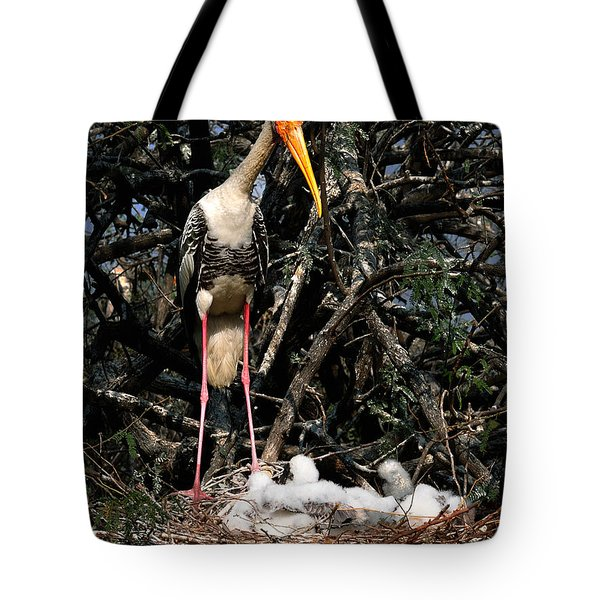 Painted Stork With Chicks Tote Bag by Manjot Singh Sachdeva