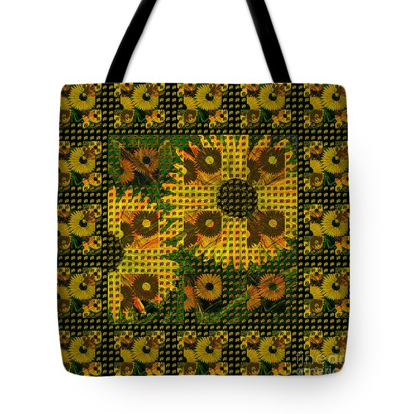 Painted Sunflower Abstract Tote Bag