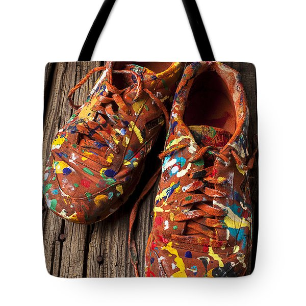 Painted Tennis Shoes Tote Bag by Garry Gay