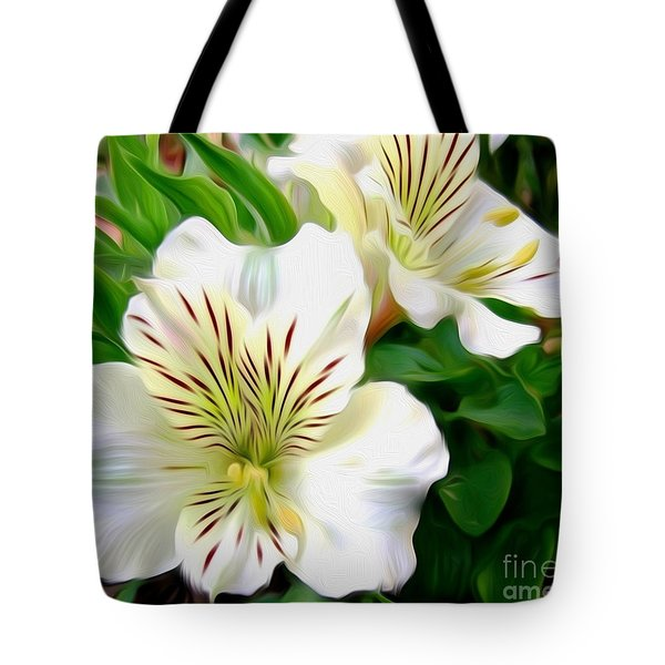 Painterly Alstroemeria Tote Bag by Kaye Menner