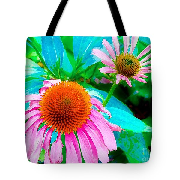 Painterly Coneflowers Tote Bag by Annie Zeno
