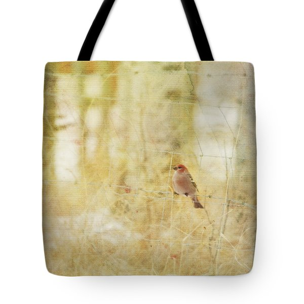 Painterly Image Of A Male Pine Grosbeak Tote Bag by Roberta Murray