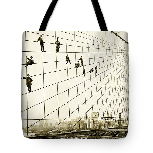Painters On The Brooklyn Bridge 1914 Tote Bag by Mountain Dreams