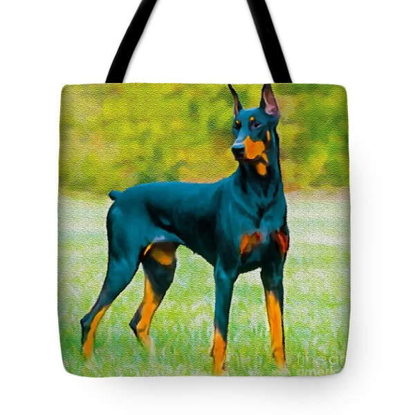 Painting Doberman Pincher Tote Bag by Bob and Nadine Johnston