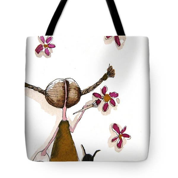 Painting Flowers Tote Bag by Lucia Stewart