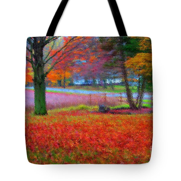 Painting Like Frontyard In Autumn Tote Bag by Tina M Wenger