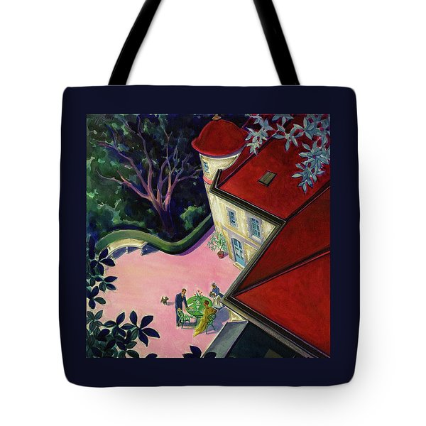 Painting Of A House With A Patio Tote Bag