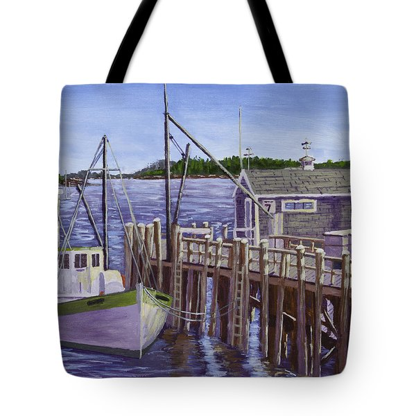 Fishing Boat Docked In Boothbay Harbor Maine Tote Bag