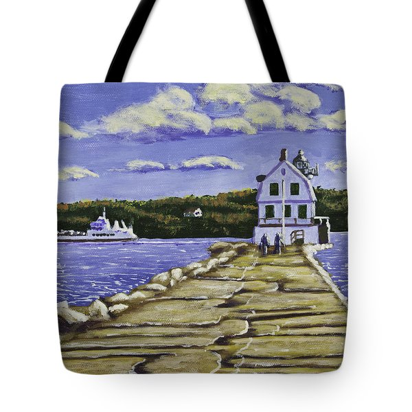 Rockland Breakwater Lighthouse In Maine Tote Bag