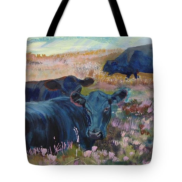 Painting Of Three Black Cows In Landscape Without Sky Tote Bag