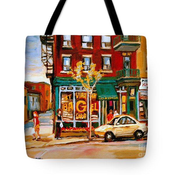 Paintings Of  Famous Montreal Places St. Viateur Bagel City Scene Tote Bag by Carole Spandau