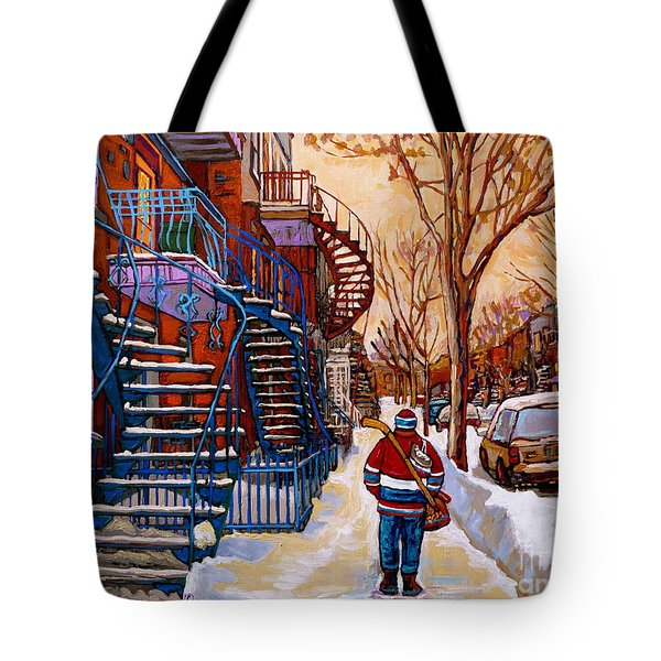 Paintings Of Montreal Beautiful Staircases In Winter Walking Home After The Game By Carole Spandau Tote Bag