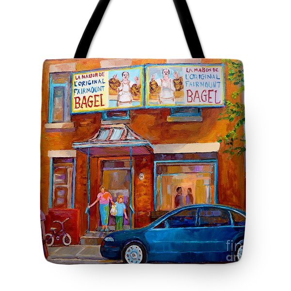 Paintings Of Montreal Fairmount Bagel Shop Tote Bag by Carole Spandau